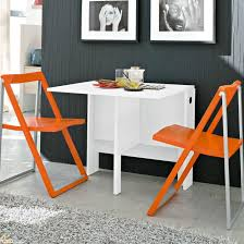 Orange Dining Room Sets White Space Saving Table And Orange Folding Chairs Decofurnish