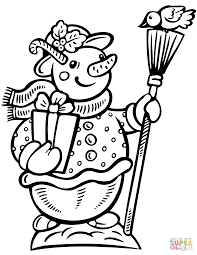 snowman with gift box and broom coloring page free printable