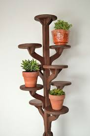 Vintage Flower Pots - vintage tall handmade wooden tiered plant stand flower pot stand