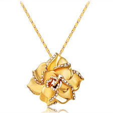 rose pendant necklace images Wholesale 18k gold plated rose pendant necklace in golden jpg