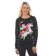 santa unicorn sweater his hers by tipsy elves unicorns