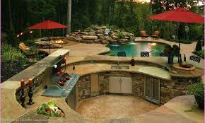 backyard designs with pool and outdoor kitchen home planning