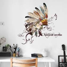 popular sticker tribal buy cheap sticker tribal lots from china indian wall stickers creative fashion chief tribal hat wall decals living room dining room hallway tv