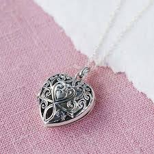 necklace with heart lock images Silver vintage heart locket necklace by martha jackson sterling jpg