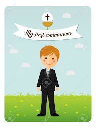 communion invitation communion invitation with child in costume royalty free cliparts