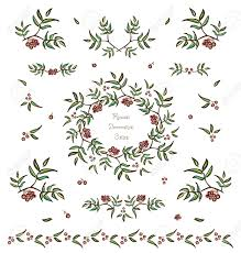 vector set of tree twigs decorative elements borders and
