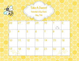 printable due date calendar bee baby shower baby shower