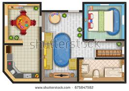 top view floor plan interior design stock vector 675847546