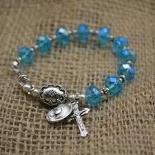 bracelet rosary aqua rosary bracelet heavenlybound