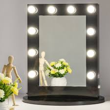 Light Up Makeup Mirror Amazon Com Chende Black Hollywood Makeup Vanity Mirror With Light