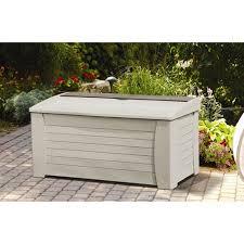 suncast 127 gallon light taupe resin storage seat deck box db12000