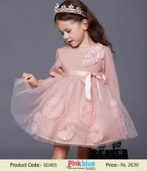 full sleeves baby dress for special occasion classy peach