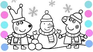 peppa and rebecca are making snowman coloring pages for kids video