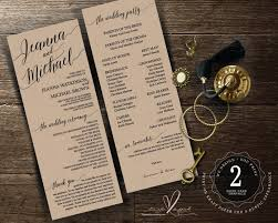 Order Wedding Programs Printable Wedding Program Card Design In A Rustic Calligraphy