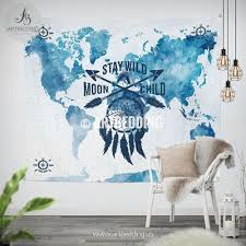 World Map Wall Decor Stay Wild Moon Child World Map Wall Tapestry Watercolor