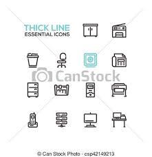 fournitures bureau en ligne ensemble icônes bureau unique fournitures ligne clipart