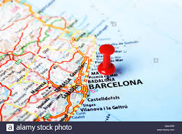 Map Of Barcelona Close Up Of Barcelona Spain Map And Red Pin Travel Concept