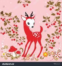 cute little deer under cherry tree stock vector 136121390