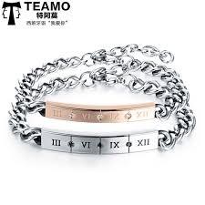 his and hers engraved bracelets teamo his and hers bracelets numerals bracelets set with cz