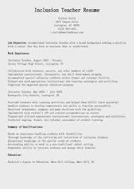 Teachers Sample Resume by Sample Resume For Inclusion Teacher Templates