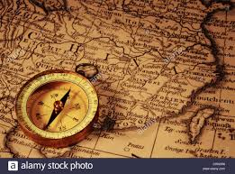 Compass Map Grungy Old Compass And Ancient Map Of China Which Is From 1799