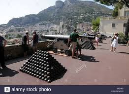 cannons and cannon balls outside the prince s palace home of the