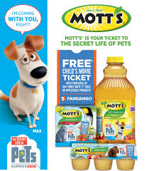 get a ticket to the secret life of pets with your mott u0027s purchase