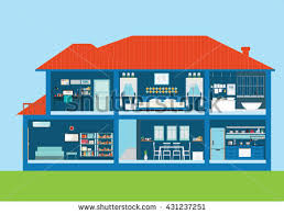 home design exterior and interior modern home design exterior interior room stock vector 431237251