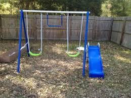 Flexible Flyer Backyard Swingin Fun Metal Swing Set Flexible Flyer Fun Time Fun Metal Swing Set Walmart Com