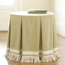 Party Tables Linens - round pleated party tablecloth with bullion fringe farmhouse round