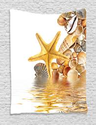 beach tapestry wall hanging sea shells and starfish home decor ebay