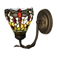 Tiffany Style Wall Sconces Nature Inspired Dragonfly Motif Glass Shaded Wall Sconce In
