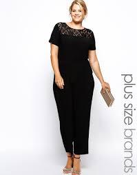 plus size black jumpsuit lyst ax plus size lace top jumpsuit in black