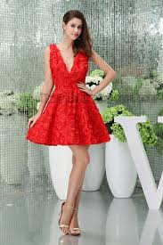 chic red short mini v neck party homecoming graduation dresses