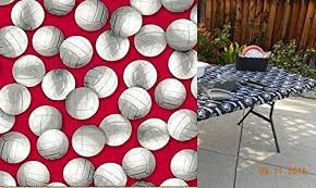 stay put table covers amazon com custom fit stay put table cover volleyball print for