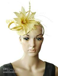 hair accessories melbourne gold yellow color sinamay hat feather fascinator bridal fascinator