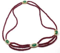 ruby beads necklace images Van cleef and arpels ruby bead emerald diamond gold necklace at jpg