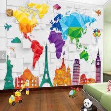 aliexpress com buy kids bedroom wallpaper colorful world map