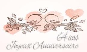 64 ans de mariage carte anniversaire mariage 64 ans branche oiseau