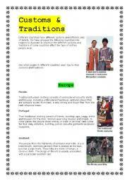 teaching worksheets culture and traditions