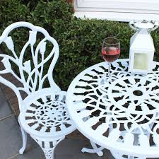 Metal Garden Table And Chairs Uk Bentley Garden Cast Aluminium Tulip Bistro Table And Chairs