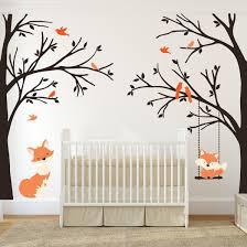 wall decal baby fox swing trees corner woodland forest www ameridecals com trees swing with baby fox mom fox nursery decor