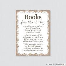 baby shower instead of a card bring a book printable burlap and lace baby shower bring a book instead of