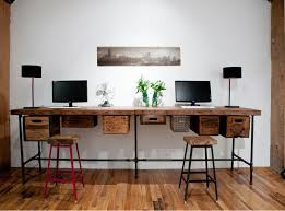 Long Computer Desk by Furniture Diy Reclaimed Wood Long Computer Desk For Two With