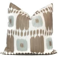 aqua tan kandira ikat decorative pillow covers 18x18 20x20 or