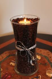 coffee themed kitchen canisters coffee bean art glass vase u0026 tealight my style pinterest