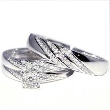 Wedding Ring Sets For Him And Her White Gold by And Her Trio Wedding Rings Set 0 33ct W 10k White Gold Mens Ring