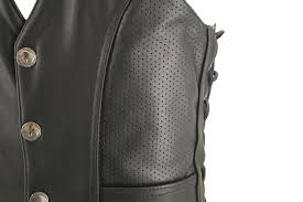 perforated leather motorcycle jacket men s semi perforated biker leather vest with perforated leather