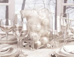 white party table decorations silver baubles inside transparent glass cube on table with white