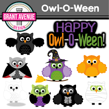 grant avenue design halloween owls clipart